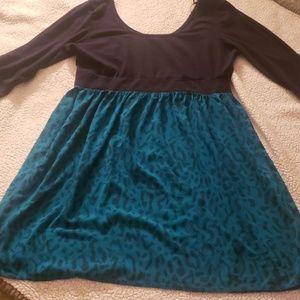 Torrid teal black knit to woven animal print dress